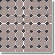 Vitrified mosaic tiles white octagon black dots